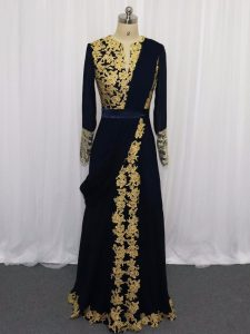 Popular Navy Blue Mother Of The Bride Dress Prom and Party and Military Ball with Lace and Appliques Scoop Long Sleeves Zipper