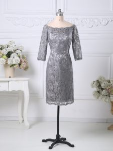 Scoop Half Sleeves Zipper Mother Of The Bride Dress Grey Lace