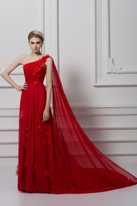 Red One Shoulder Lace Up Ruching and Hand Made Flower Mother Of The Bride Dress Watteau Train Sleeveless