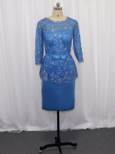 Blue Column/Sheath Scoop Long Sleeves Satin Mini Length Zipper Lace and Appliques Mother Of The Bride Dress