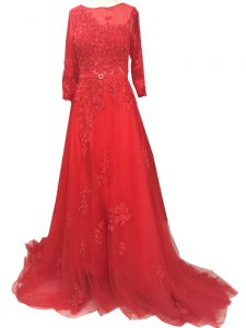 Red Long Sleeves Lace and Appliques and Belt Zipper Mother Of The Bride Dress