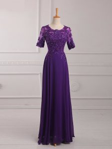 Noble Purple Zipper Mother Of The Bride Dress Lace and Appliques Half Sleeves Floor Length