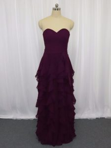 Stylish Floor Length Dark Purple Mother Of The Bride Dress Sweetheart Sleeveless Zipper