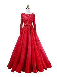 Red Scoop Neckline Beading and Lace Mother Dresses Long Sleeves Zipper