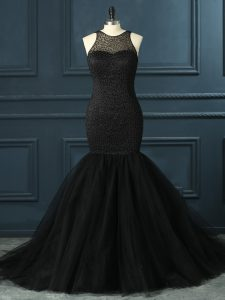 Exceptional Black Mermaid Tulle Scoop Sleeveless Beading Floor Length Zipper Mother Of The Bride Dress