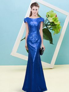 Exquisite Floor Length Mermaid Cap Sleeves Royal Blue Mother Of The Bride Dress Zipper