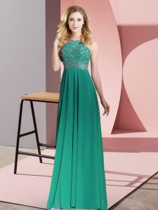 Scoop Sleeveless Backless Mother Of The Bride Dress Dark Green Chiffon