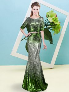 Fashion Multi-color Sequined Zipper Scoop Half Sleeves Floor Length Mother Of The Bride Dress Sequins and Belt