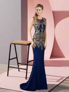 Column/Sheath Sleeveless Royal Blue Mother Of The Bride Dress Sweep Train Zipper