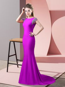 Elastic Woven Satin High-neck Short Sleeves Brush Train Backless Beading Mother Of The Bride Dress in Fuchsia