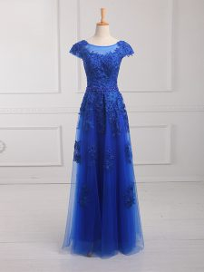 Attractive Royal Blue Mother of Groom Dress Prom and Military Ball and Sweet 16 with Beading and Lace and Appliques Scoop Short Sleeves Lace Up