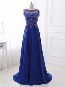 Royal Blue Sleeveless Beading Side Zipper Mother Of The Bride Dress