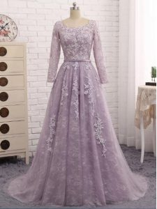 Sleeveless Beading and Appliques Zipper Mother Of The Bride Dress with Lavender Brush Train