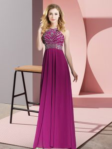 Floor Length Fuchsia Mother Of The Bride Dress Chiffon Sleeveless Beading