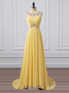 High Quality Yellow Sleeveless Chiffon Brush Train Clasp Handle Mother Of The Bride Dress for Prom and Party