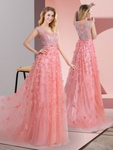 Pink Tulle Zipper V-neck Sleeveless Mother Of The Bride Dress Sweep Train Beading and Appliques