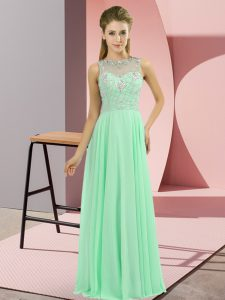 Apple Green Empire Beading Mother Of The Bride Dress Zipper Chiffon Sleeveless Floor Length