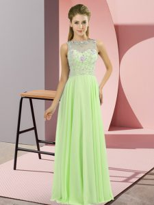 Unique Sleeveless Floor Length Beading Zipper Mother Of The Bride Dress with