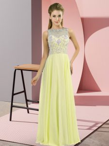 Artistic Yellow Empire Beading Mother Of The Bride Dress Zipper Chiffon Sleeveless Floor Length