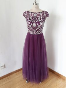 Customized Eggplant Purple Scoop Neckline Beading Mother Of The Bride Dress Short Sleeves Zipper