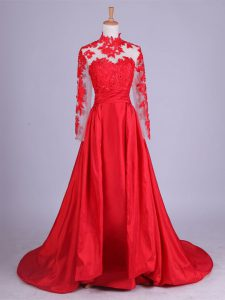 Long Sleeves Lace and Appliques Zipper Mother Of The Bride Dress with Red Brush Train