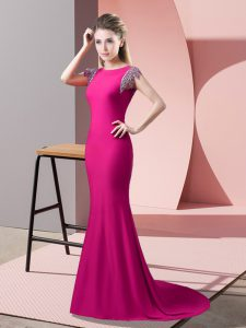 High Quality Hot Pink Mother Of The Bride Dress Prom and Party with Beading High-neck Short Sleeves Brush Train Backless