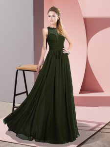 Fitting Olive Green Sleeveless Lace Floor Length Mother Of The Bride Dress