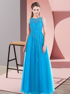 Fantastic Aqua Blue Sleeveless Beading Floor Length Mother Of The Bride Dress