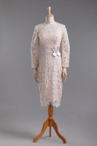 Champagne Column/Sheath Lace and Belt Mother Of The Bride Dress Zipper Lace Long Sleeves Tea Length