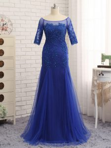 Ideal Royal Blue Zipper Scoop Lace and Appliques Mother Of The Bride Dress Tulle Half Sleeves