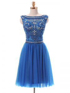 Cheap Sleeveless Mini Length Beading Zipper Mother Of The Bride Dress with Blue