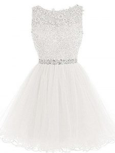 Tulle Sleeveless Mini Length Mother Of The Bride Dress and Beading and Lace and Appliques