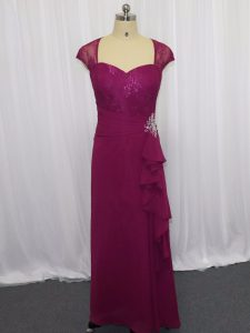Glorious Sweetheart Cap Sleeves Mother Of The Bride Dress Floor Length Beading and Lace and Appliques Fuchsia Chiffon