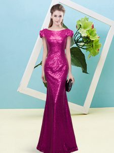 Floor Length Mermaid Cap Sleeves Fuchsia Mother Of The Bride Dress Zipper
