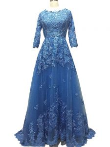 On Sale Blue Tulle Zipper Scalloped 3 4 Length Sleeve Mother Of The Bride Dress Brush Train Lace and Appliques