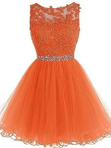 Orange Zipper Scoop Beading and Ruffles Mother Of The Bride Dress Tulle Sleeveless