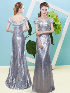 Best Floor Length Silver Mother Of The Bride Dress Sequined Cap Sleeves Sequins