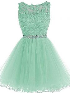 Apple Green Zipper Sweetheart Beading and Lace and Appliques and Ruffles Mother Of The Bride Dress Tulle Sleeveless