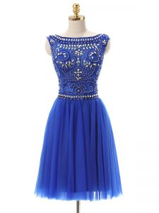 Excellent Royal Blue Zipper Bateau Beading Mother Of The Bride Dress Tulle Sleeveless