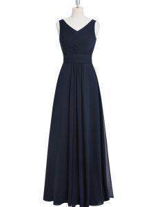 Black Chiffon Zipper V-neck Sleeveless Floor Length Mother of Groom Dress Ruching