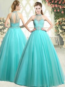 Popular Aqua Blue Tulle Zipper Halter Top Sleeveless Floor Length Mother Dresses Beading