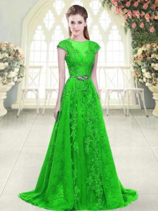 Exceptional Cap Sleeves Beading and Lace and Pick Ups Zipper Mother Of The Bride Dress with Green