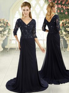 Delicate Zipper Mother Of The Bride Dress Navy Blue for Prom and Party and Military Ball with Beading and Lace and Appliques Sweep Train