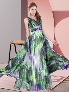 Printed V-neck Sleeveless Lace Up Pattern Mother Of The Bride Dress in Multi-color