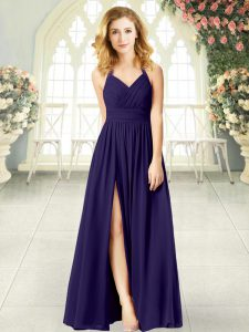 Floor Length Purple Mother Of The Bride Dress Chiffon Sleeveless Ruching