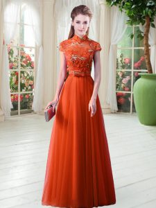 Classical Orange Red Tulle Lace Up Mother Of The Bride Dress Cap Sleeves Floor Length Appliques