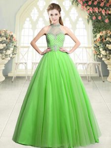 Delicate A-line Mother Of The Bride Dress Halter Top Tulle Sleeveless Floor Length Zipper