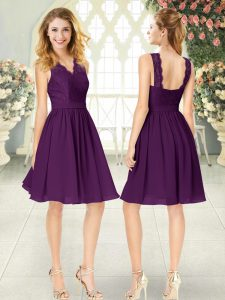 Eye-catching Purple Sleeveless Lace Knee Length Mother Of The Bride Dress