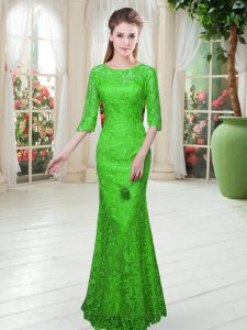 Popular Floor Length Zipper Mother Of The Bride Dress Green for Prom and Party with Lace