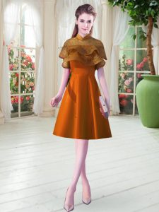 Orange Satin Lace Up Mother Of The Bride Dress Cap Sleeves Knee Length Lace
